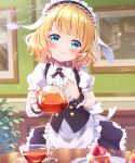 1girl bangs blonde_hair blue_eyes blunt_bangs blush cake center_frills character_name commentary cup eyebrows_visible_through_hair fleur_de_lapin_uniform food frilled_hairband frills fruit gochuumon_wa_usagi_desu_ka? hairband hand_on_own_chest happy_birthday head_tilt holding holding_teapot indoors kirima_sharo looking_at_viewer mozukun43 plate puffy_short_sleeves puffy_sleeves short_hair short_sleeves smile solo strawberry strawberry_shortcake teacup teapot twitter_username waitress wrist_cuffs