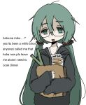 04119_snail 1girl bag bread casual empty_eyes english_text food grocery_bag hatsune_miku highres holding holding_bag leek long_hair paper_bag shopping_bag sleeves_past_wrists solo tired twintails upper_body very_long_hair vocaloid