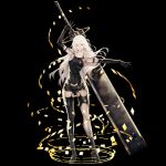 1girl android black_background black_gloves blue_eyes elbow_gloves gloves high_heels highres huge_weapon joints kazama_raita long_hair mole mole_under_mouth nier_(series) nier_automata outstretched_arms robot_joints short_shorts shorts simple_background solo sword weapon white_hair yorha_type_a_no._2