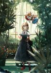 1girl alice_margatroid bangs black_dress blonde_hair blue_eyes blue_flower blurry blurry_foreground bow breasts brooch clipboard closed_mouth daisy day depth_of_field dress eyebrows_visible_through_hair fern flower frilled_shirt_collar frills full_body greenhouse hair_between_eyes hair_bow hair_flower hair_ornament hairband hand_up highres holding holding_clipboard jewelry looking_up medium_breasts nature red_bow red_flower red_footwear red_hairband red_neckwear red_ribbon red_rose ribbon rock rose scenery shanghai_doll short_hair smile solo standing touhou tree vetina water white_flower yellow_flower yellow_rose