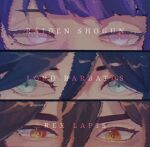 1girl 2boys black_hair brown_hair character_name commentary english_commentary eyes genshin_impact green_eyes highres kuehjpg looking_at_viewer mole mole_under_eye multiple_boys purple_hair raiden_(genshin_impact) shiny shiny_hair venti_(genshin_impact) violet_eyes yellow_eyes zhongli_(genshin_impact)