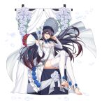 1girl absurdres bare_shoulders black_hair blue_eyes bouquet breasts counter_side crossed_legs detached_sleeves dress feet floating_hair flower garter_straps gradient_hair hands_up hat highres holding huge_filesize long_hair long_sleeves looking_at_viewer multicolored_hair official_art open_mouth rosaria_(genshin_impact) rose sitting small_breasts smile solo thigh-highs toeless_legwear toes transparent_background very_long_hair wedding_dress white_dress white_flower white_headwear white_legwear