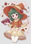 1girl bangs blunt_bangs book commission cowboy_shot floating green_hair hat highres layered_clothing long_sleeves mushroom no1shyv open_mouth orange_headwear original red_eyes skeb_commission solo witch_hat