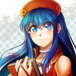 1girl adricarra blue_eyes blue_hair book face fire_emblem fire_emblem:_the_binding_blade fire_emblem_heroes jewelry lilina_(fire_emblem) looking_at_viewer magical_girl neck_ring princess smile