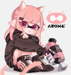 1girl :o animal_ears artist_name bangs black_footwear black_shirt blurry blurry_foreground braid cat_ears cat_tail commentary depth_of_field eyebrows_visible_through_hair facial_mark grey_background hair_ornament hairclip holding holding_weapon hugging_own_legs inkling inkling_(language) kemonomimi_mode logo long_hair long_sleeves looking_at_viewer maco_spl open_mouth pink_hair pointy_ears red_eyes shirt shoes short_shorts shorts simple_background sitting solo splatoon_(series) splatoon_2 splattershot_(splatoon) tail weapon whisker_markings