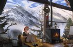 1girl artist_name bell blonde_hair canvas_(object) cat chinese_commentary choker christmas christmas_stocking christmas_tree collarbone cushion easel fire fireplace fom_(lifotai) gift green_eyes headphones highres holding holding_stylus indoors lantern long_hair mountain multiple_cats off_shoulder original pinecone scenery shirt short_sleeves sitting slippers smile solo stylus tablet_pc tree wooden_floor wreath