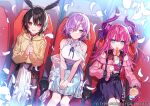 3girls aqua_eyes belt black_bow black_hair blue_skirt bow breasts churro collar cup curled_horns disposable_cup drinking_straw eating elizabeth_bathory_(fate) elizabeth_bathory_(fate)_(all) fate/grand_order fate_(series) feather_hair food food_on_face hair_ribbon hanagata hands_clasped hands_on_lap hood hoodie horns long_hair long_sleeves mash_kyrielight medium_breasts movie_theater multiple_girls off-shoulder_shirt off_shoulder official_art open_mouth ortlinde_(fate) own_hands_together petals pink_collar pink_hair pink_shirt pointy_ears puffy_long_sleeves puffy_sleeves purple_hair purple_ribbon red_eyes ribbon shawl shirt short_hair sitting skirt sleeveless sleeveless_shirt smile tearing_up two_side_up valkyrie_(fate) violet_eyes wavy_mouth white_shirt white_skirt yellow_hoodie