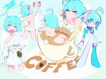 >_< 1girl aetherion ahoge aqua_eyes aqua_hair ass bathing blush blush_stickers breasts coffee coffee_cup cropped_legs cup disposable_cup eating english_commentary english_text food fork full_body highres in_container in_cup medium_breasts messy_hair morning multicolored multicolored_eyes multiple_views original panties pink_eyes pouring sausage shirt short_hair space_girl_(aetherion) underwear white_panties white_shirt