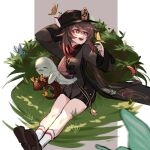 1girl bangs black_headwear black_nails black_shorts blurry blurry_foreground breasts brooch brown_hair bug butterfly butterfly_on_hand closed_eyes closed_mouth coat coattails collared_coat collared_shirt colored_tips commentary_request dragon eastern_dragon flower-shaped_pupils genshin_impact ghost grass grey_background hand_on_headwear hat hat_ornament hu_tao_(genshin_impact) insect jewelry kizuku_vii long_hair long_sleeves nail_polish open_mouth porkpie_hat red_eyes red_shirt redhead rex_lapis_(genshin_impact) ring shirt shoes shorts simple_background sitting smile socks solo symbol-shaped_pupils talisman tassel twintails white_background white_legwear wide_sleeves