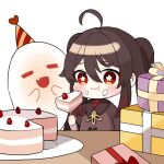 1girl :d :t =_= ahoge black_hair blush box brown_hair cake cake_slice closed_eyes closed_mouth eating fang flower-shaped_pupils food food_on_face fork genshin_impact ghost gift gift_box gradient_hair hat heart holding holding_fork hu_tao_(genshin_impact) long_hair miyako_draw multicolored_hair open_mouth party_hat red_eyes simple_background smile solo twintails wavy_mouth white_background