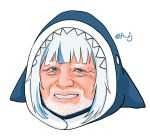1boy animal_hood bangs beard blue_eyes blunt_bangs commentary_request facial_hair gawr_gura hide_the_pain_harold highres hololive hololive_english hood light_blue_hair looking_at_viewer meme mixed-language_commentary mustache old otaku_cheng shark_hood sharp_teeth sidelocks smile solo teeth transparent_background twitter_username virtual_youtuber white_facial_hair