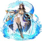 1girl anuket_(ark_order) ark_order armlet bandaged_leg bandages bangs black_hair black_legwear blue_cape blue_eyeshadow breasts cape dark_skin dress earrings egyptian_clothes eyeshadow fish gauntlets headdress highres holding holding_staff jewelry large_breasts long_hair looking_at_viewer makeup official_art orb platform_footwear shark side_cutout solo staff tachi-e thigh-highs very_long_hair water white_dress