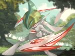 1boy arm_up artist_name bangs blue_hair blurry blurry_foreground colored_skin commentary dappled_sunlight day dutch_angle fighting_stance gallade gen_4_pokemon grass green_hair hair_over_one_eye highres jpeg_artifacts leaning_forward legs_apart light_trail looking_at_viewer male_focus mega_gallade mega_pokemon mohawk multicolored_hair outdoors pectorals pokemon pokemon_(creature) red_eyes rio_(user_nvgr5434) signature solo standing sunlight toned toned_male tree two-tone_hair white_skin