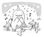 blush cake candle commentary_request fire flame food gen_2_pokemon greyscale hands_up happy hat hatted_pokemon korean_commentary monochrome musical_note no_humans open_mouth party_hat plate pokemon pokemon_(creature) quagsire rnehrdyd1212 smile standing table toes tongue wooper |d