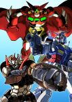 amakawa_mayu cape clenched_hand crossover getter-1 getter_robo green_eyes gun gundam highres holding holding_gun holding_weapon mazinger_(series) mazinger_z mazinger_z:_infinity mazinger_z_(mecha) mecha mobile_suit mobile_suit_gundam multiple_crossover open_hands red_cape rx-78-2 science_fiction shin_getter_robo super_robot super_robot_wars super_robot_wars_30 v-fin weapon yellow_eyes