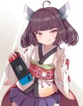 1girl :q ahoge brown_hair commentary_request eyebrows_visible_through_hair hair_ornament handheld_game_console highres holding holding_handheld_game_console japanese_clothes kimono looking_at_viewer medium_hair nintendo_switch obi purple_skirt red_eyes sash skirt solo tokiro_ed29689 tongue tongue_out touhoku_kiritan v voiceroid wide_sleeves