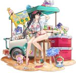 1girl ark_order artist_request bangs bare_legs baseball_cap bikini black_hair bracelet breasts cart conch cooler crop_top crown_print food hair_flaps hat hat_writing high_ponytail holding holding_sign ice_cream jewelry large_breasts megaphone official_art pink_eyes red_bikini red_footwear red_headwear sand sandals see-through_shirt shell shirt sign snow_white_(ark_order) snow_white_and_the_seven_dwarfs solo_focus sparkle swimsuit t-shirt transparent_background white_shirt