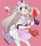 1girl apron bangs blush bunny_hair_ornament dress eggplant eyebrows_visible_through_hair fang grey_hair hair_ornament hat heart highres holding knife long_hair natori_sana nurse_cap ocha_(popopogg) open_mouth pink_apron pink_background red_eyes sana_channel short_sleeves shrimp simple_background skin_fang solo stuffed_animal stuffed_bunny stuffed_toy thigh-highs two_side_up virtual_youtuber white_dress white_legwear