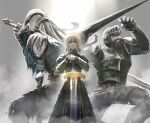 1girl 2boys absurdres ahoge armor armored_dress arms_up artoria_pendragon_(all) artorias_the_abysswalker artorius_collbrande bangs beard blonde_hair blue_capelet blue_dress boxers breastplate capelet closed_mouth crossover dark_souls_i dress excalibur_(fate/stay_night) faceless faceless_male facial_hair fate/stay_night fate_(series) faulds feet_out_of_frame fighting_stance full_armor gauntlets greatsword green_eyes grey_background hands_on_hilt helmet highres holding holding_lance holding_polearm holding_sword holding_weapon hood juliet_sleeves knight koromoya_kai lance long_sleeves looking_at_viewer makaimura male_underwear multiple_boys over_shoulder pauldrons planted planted_sword plume polearm puffy_sleeves saber shoulder_armor sir_arthur_(makaimura) souls_(series) standing sword underwear weapon weapon_over_shoulder