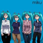 4girls album_cover_redraw aqua_eyes aqua_hair arms_behind_back bangs black_pants black_shirt blue_background breasts brian_bell brian_bell_(cosplay) brown_pants closed_mouth collared_shirt commentary cosplay derivative_work eyebrows_visible_through_hair feet_out_of_frame gingrjoke hair_ornament hatsune_miku highres large_breasts long_hair long_sleeves looking_at_viewer matt_sharp matt_sharp_(cosplay) multiple_girls own_hands_together pants parody patrick_wilson patrick_wilson_(cosplay) rivers_cuomo rivers_cuomo_(cosplay) shirt short_sleeves simple_background smile striped striped_shirt twintails undershirt vertical-striped_shirt vertical_stripes very_long_hair vocaloid weezer_(album) weezer_(band) white_shirt