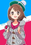1girl :d absurdres blush bob_cut bright_pupils brown_eyes brown_hair buttons cable_knit cardigan collared_dress commentary_request copyright_name dress eyelashes gloria_(pokemon) green_headwear grey_cardigan hat highres hiva+ holding holding_poke_ball hooded_cardigan open_mouth pink_dress poke_ball poke_ball_(basic) pokemon pokemon_(game) pokemon_swsh short_hair smile solo tam_o'_shanter tongue white_pupils