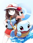 1girl ayo_(ayosanri009) bag bangs between_breasts black_wristband blue_shirt breasts brown_eyes brown_hair bucket_hat closed_mouth commentary_request gen_1_pokemon hair_between_eyes hand_on_hip hat holding holding_poke_ball leaf_(pokemon) long_hair looking_at_viewer messenger_bag poke_ball poke_ball_(basic) pokemon pokemon_(creature) pokemon_(game) pokemon_frlg red_skirt shirt shoulder_bag skirt sleeveless sleeveless_shirt smile squirtle starter_pokemon strap_between_breasts vs_seeker water white_headwear wristband yellow_bag