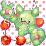:d black_eyes cherry commentary_request food fruit gen_5_pokemon highres mian_(3zandora) no_humans open_mouth outstretched_arms pokemon pokemon_(creature) polka_dot polka_dot_background reuniclus smile solo sparkle tongue
