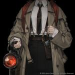 1girl black_background black_neckwear brown_coat coat collared_shirt cowboy_shot hand_up head_out_of_frame highres holding holster long_hair necktie original quuni redhead shirt shirt_tucked_in simple_background sleeves_past_wrists solo suspenders white_shirt
