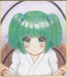 1girl :> bangs blunt_bangs blush breasts bucket closed_mouth colored_pencil_(medium) commentary_request eyebrows_visible_through_hair green_eyes green_hair grey_background hair_bobbles hair_ornament highres in_bucket in_container kisume light_smile looking_at_viewer luke_(kyeftss) medium_breasts short_hair simple_background solo touhou traditional_media two_side_up upper_body white_robe