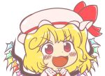 1girl bangs blonde_hair blush chibi collar crystal dress eyebrows_visible_through_hair flandre_scarlet gyate_gyate hat hat_ribbon ikiyouz looking_away multicolored multicolored_wings open_mouth ponytail puffy_short_sleeves puffy_sleeves red_dress red_eyes red_ribbon ribbon short_hair short_sleeves simple_background smile solo touhou white_background white_collar white_headwear white_sleeves wings yellow_neckwear