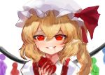 1girl bangs blonde_hair blood blood_on_face bloody_hands bow commentary_request crystal dokomon eyebrows_visible_through_hair flandre_scarlet grin hair_between_eyes hat hat_bow highres holding korean_commentary long_hair mob_cap one_side_up puffy_sleeves red_bow red_eyes shirt simple_background sketch smile solo touhou upper_body white_background white_headwear white_shirt wings