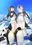 2girls bird black_hair black_sweater blonde_hair boots closed_eyes commentary_request drawstring gentoo_penguin_(kemono_friends) hair_between_eyes hand_on_own_chest headphones kemono_friends kemono_friends_3 long_hair long_sleeves mittens multicolored_hair multiple_girls music official_art open_mouth orange_hair penguin penguin_girl penguin_tail pink_footwear pink_hair royal_penguin_(kemono_friends) seto_(harunadragon) singing snow socks sweater tail thigh-highs twintails two-tone_sweater white_hair white_legwear white_sweater yellow_footwear zettai_ryouiki