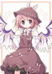 1girl animal_ears asameshi bird_wings brown_dress brown_eyes brown_headwear closed_mouth collared_shirt dress earrings eyebrows_visible_through_hair feathered_wings fingernails hat jewelry long_fingernails long_sleeves looking_at_viewer mob_cap mystia_lorelei pink_hair pink_nails shirt short_hair single_earring smile solo touhou white_shirt winged_hat wings