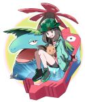 1girl :d ayo_(ayosanri009) bike_shorts brown_hair bucket_hat buttons camouflage camouflage_headwear commentary_request eevee eyelashes gen_1_pokemon green_headwear green_jacket hair_flaps hat headpat holding holding_poke_ball holding_pokemon jacket knees leaf_(pokemon) long_hair long_sleeves open_clothes open_jacket open_mouth oversized_clothes oversized_shirt pink_shirt poke_ball poke_ball_(basic) pokemon pokemon_(creature) pokemon_(game) pokemon_masters_ex poryphone shirt shoes sitting smile tongue venusaur yellow_eyes