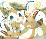 blue_eyes blue_ribbon blush closed_mouth commentary_request flower furret gen_2_pokemon hat hat_removed headwear_removed highres holding holding_flower leaves_in_wind no_humans one_eye_closed open_mouth pokemon pokemon_(creature) ribbon sentret tongue ushiina white_background
