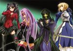 2000s_(style) 4girls armor armored_dress artbook artist_request artoria_pendragon_(all) blonde_hair caster dress fate/stay_night fate_(series) highres long_hair long_sleeves medea_(fate) medusa_(fate) medusa_(rider)_(fate) multiple_girls nameless_dagger_(fate) rotated saber scan strapless strapless_dress sword thigh-highs tohsaka_rin turtleneck very_long_hair weapon zettai_ryouiki