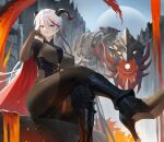 1girl aegir_(azur_lane) azur_lane black_footwear blush bodystocking boots breast_curtains breasts cape cross cross_earrings earrings from_below grin hand_on_own_face high_heels highres hood_(james_x) horns jewelry large_breasts leg_up long_hair looking_at_viewer mechanical_dragon multicolored_hair outdoors redhead shoe_soles silver_hair sitting smile solo streaked_hair symbol_commentary yellow_eyes