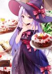 1girl ahoge bakery bangs black_choker blush bow breasts cake choker closed_mouth commentary_request dress eyebrows_visible_through_hair food fruit hand_on_own_chest happy_birthday hat hat_bow highres holding holding_food indoors leaf long_hair looking_at_viewer mutang off-shoulder_dress off_shoulder original purple_dress purple_headwear red_bow shop smile solo standing strawberry striped striped_bow underbust very_long_hair violet_eyes witch_hat