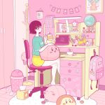 1girl aqua_shirt backpack bag black_hair blush bowl chair computer cup food globe hair_ornament hairclip hat hat_removed headwear_removed highres holding holding_cup kirby kirby_(series) laptop macaron original pink_bag pink_theme profile shelf shirt short_hair shorts sitting solo star_(symbol) tissue_box trash_can waddle_dee wide_shot yellow_shorts yoshimon