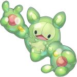 :d black_eyes commentary_request full_body gen_5_pokemon highres mian_(3zandora) no_humans open_mouth outstretched_arms pokemon pokemon_(creature) reuniclus simple_background smile solo tongue white_background