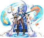 1girl :3 ark_order belt black_footwear black_legwear blue_hair boots breasts bubble cape choker dress fang finn_eces_(ark_order) fish fish_hair_ornament fish_tattoo gold_trim green_eyes hair_ornament holding holding_sheath holding_sword holding_weapon jellyfish long_hair low_twintails monocle official_art panties panties_under_pantyhose pantyhose sheath sheathed solo sparkle starfish sword tachi-e transparent_background twintails two_side_up underwear very_long_hair water wavy_hair weapon white_cape white_dress white_panties you_ni_ge_shaobing