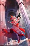 1girl ascot bangs bat_wings bow center_frills clothing_cutout dress dutch_angle eyebrows_visible_through_hair fingernails flat_chest frilled_shirt_collar frills full_body furahata_gen grin hair_between_eyes hair_bow highres indoors kneehighs light_particles long_fingernails mary_janes nail_polish no_hat no_headwear outstretched_arm petticoat pillar pink_dress puffy_short_sleeves puffy_sleeves purple_hair red_bow red_eyes red_footwear red_nails red_neckwear reflection remilia_scarlet sharp_fingernails shoes short_hair short_sleeves shoulder_cutout smile solo touhou white_legwear wings wrist_cuffs