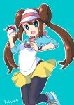 1girl bangs black_legwear blush bow breasts bright_pupils brown_hair commentary double_bun green_eyes highres hiva+ holding holding_poke_ball legwear_under_shorts long_hair looking_at_viewer open_mouth outline pantyhose pink_bow poke_ball pokemon pokemon_(game) pokemon_bw2 raglan_sleeves rosa_(pokemon) shirt shoes short_shorts shorts smile sneakers solo tongue twintails visor_cap white_pupils yellow_shorts