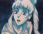1girl bishoujo_senshi_sailor_moon blue_eyes blue_theme choker circlet earrings jewelry long_hair monochrome open_mouth osamu_dezaki_(style) sailor_moon sailor_moon_redraw_challenge tearing_up twintails upper_body