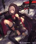 1girl asymmetrical_legwear black_cape black_footwear black_shorts boots brown_eyes brown_gloves cape clothing_cutout cygames gloves highres holding holding_weapon hood hood_up hooded knee_boots looking_at_viewer medium_hair open_mouth shadowverse shingeki_no_bahamut short_shorts shorts shoulder_cutout silver_hair sitting solo tachikawa_mushimaro thigh-highs thigh_boots thigh_strap weapon wizardess_of_oz