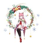 1girl :d animal_ears animal_on_lap antlers ark_order bangs bell blue_eyes boots coat dress earmuffs fake_animal_ears fake_antlers frilled_sleeves frills fur-trimmed_boots fur-trimmed_dress fur_trim highres holly jingle_bell long_hair long_sleeves looking_at_viewer low_twintails official_art open_mouth petting pink_hair rabbit red_dress red_footwear reindeer_antlers smile snowflake_print snowflakes solo star_(symbol) star_print tachi-e thigh-highs twintails very_long_hair white_coat yue_yue yuki_onna_(ark_order)