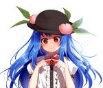 1girl bangs black_headwear blouse blue_hair blush bow buttons closed_mouth collar eyebrows_visible_through_hair fingers_together food frills fruit hands_up hat highres hinanawi_tenshi kimautomne leaf long_hair looking_at_viewer peach puffy_short_sleeves puffy_sleeves red_bow red_eyes red_neckwear shaded_face short_sleeves simple_background solo touhou white_background white_blouse white_collar white_sleeves