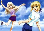 2girls :d ahoge albino artbook artoria_pendragon_(all) blonde_hair blue_bow bow clouds denim dot_nose fate/stay_night fate_(series) hair_bow highres illyasviel_von_einzbern jumping looking_at_viewer multiple_girls official_art open_mouth purple_shorts purple_tank_top red_eyes rotated saber scan shorts sidelocks sky smile tank_top white_hair