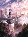 1girl absurdres ahoge bangs black_skirt blurry blurry_foreground brown_hair building city cityscape clouds cloudy_sky commentary_request full_body grey_jacket highres jacket long_hair long_sleeves looking_afar looking_up maeda_mic neck_ribbon original outdoors parted_lips power_lines red_neckwear ribbon skirt sky skyscraper solo standing sunlight tree utility_pole