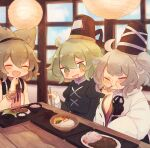 3girls :i ahoge alternate_hairstyle ashiyu_(ashu-ashu) bangs bare_shoulders beige_blouse black_headwear black_neckwear black_ribbon blouse blurry blurry_background blush bowl bracelet brown_hair chopsticks closed_eyes commentary_request depth_of_field dress earmuffs eating eyebrows_visible_through_hair fang food_request green_dress green_eyes green_hair grey_hair hair_between_eyes hand_on_own_chin hand_up hat holding holding_chopsticks japanese_clothes jewelry juliet_sleeves kariginu lantern long_sleeves mononobe_no_futo multiple_girls one_side_up open_mouth paper_lantern pointy_hair pom_pom_(clothes) puffy_sleeves purple_neckwear purple_ribbon ribbon skin_fang sleeveless_blouse smile soga_no_tojiko table tate_eboshi thick_eyebrows touhou toyosatomimi_no_miko tray wide_sleeves